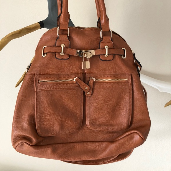 Street Level Handbags - Street Level Cognac Crossbody with shoulder straps
